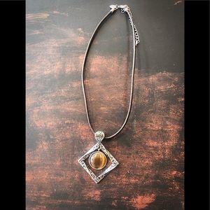 Vintage Lia Sophia round tiger eye stone pendant